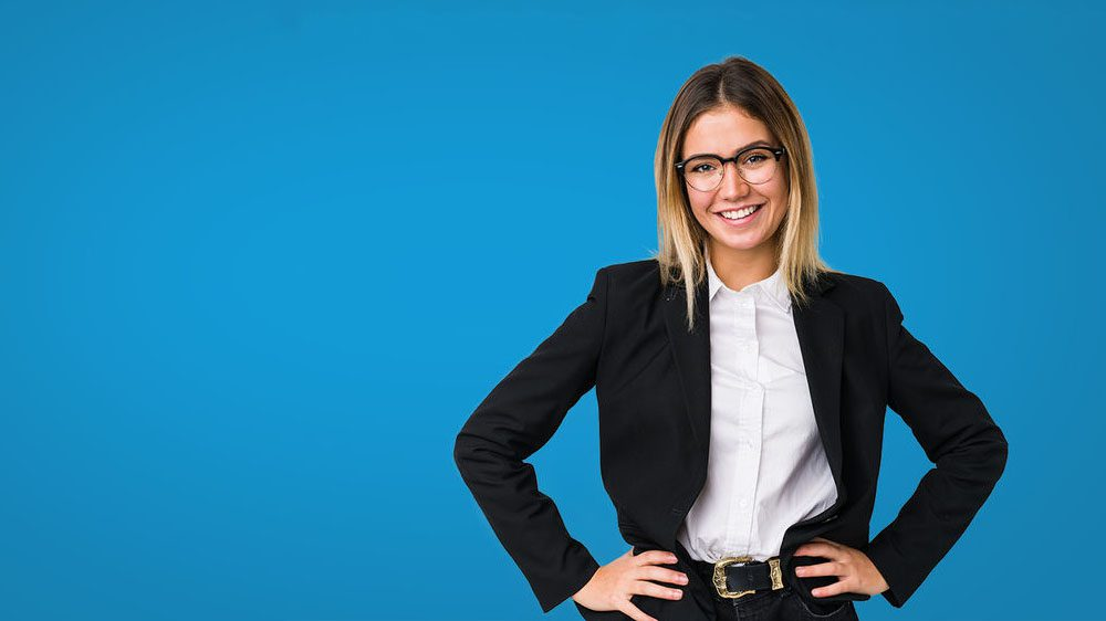 woman blue background